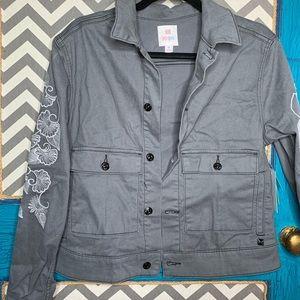 LuLaRoe gray denim jacket white/silver embroidery